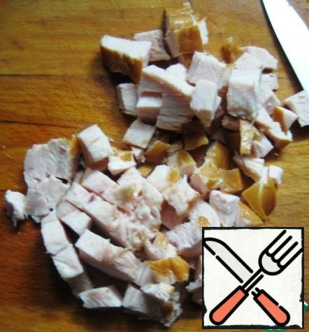 Cut smoked chicken breast and add to other ingredients.