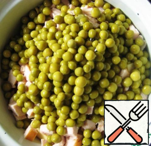 Add green peas (drain the liquid from the can).