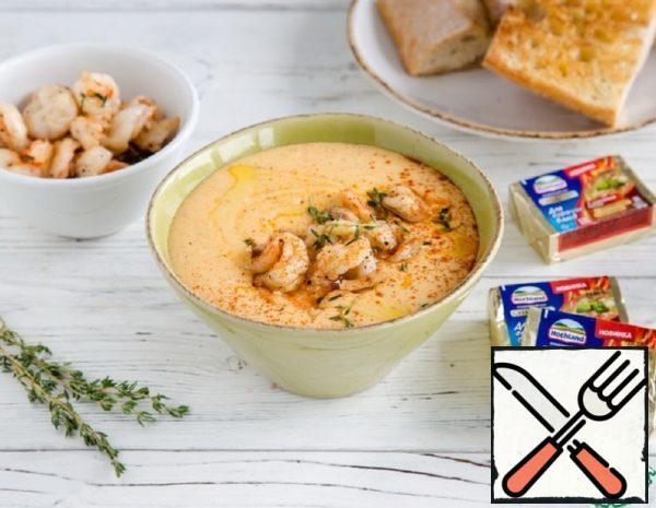 Cheese Cream Soup with Garlic Shrimp Recipe