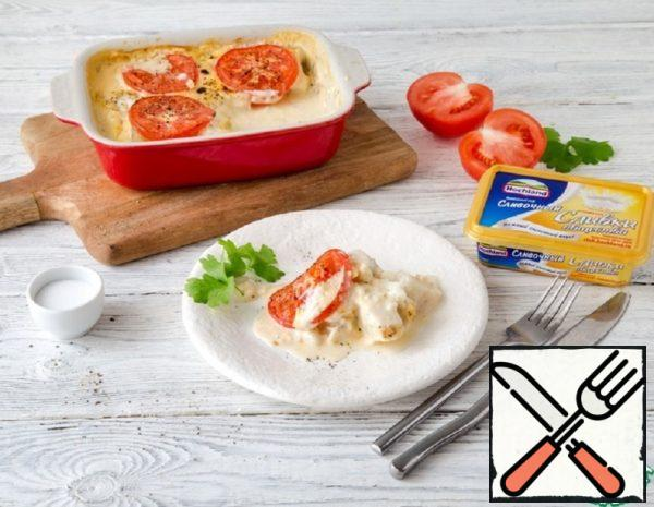 Fish baked with Tomatoes in Cheese Sauce Recipe