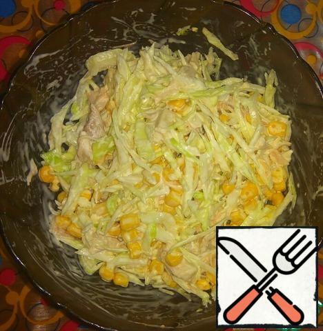 Add salt and mayonnaise, stir.