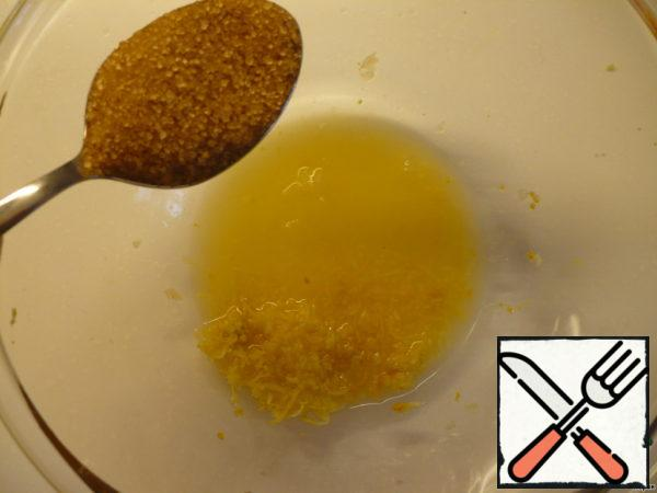 For dressing: remove the zest from one lemon, squeeze the juice, add brown sugar.