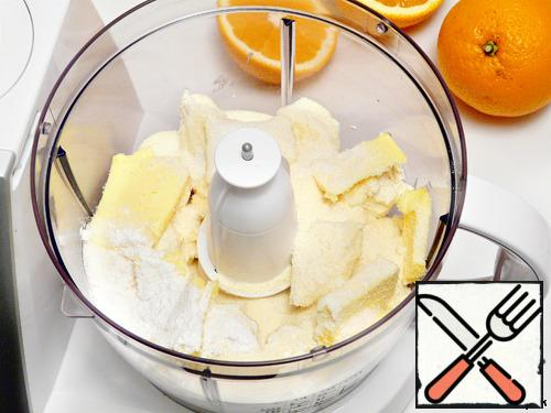 In a bowl of blender mix cottage cheese, butter, sugar, starch and semolina.