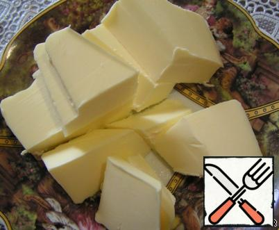 Butter cut into small cubes. I couldn't stand it at room temperature. It's already soft enough. Importantly, to not from the freezer.