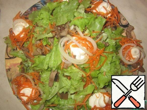 Salad with Tongue and Carrots in Korean Recipe
