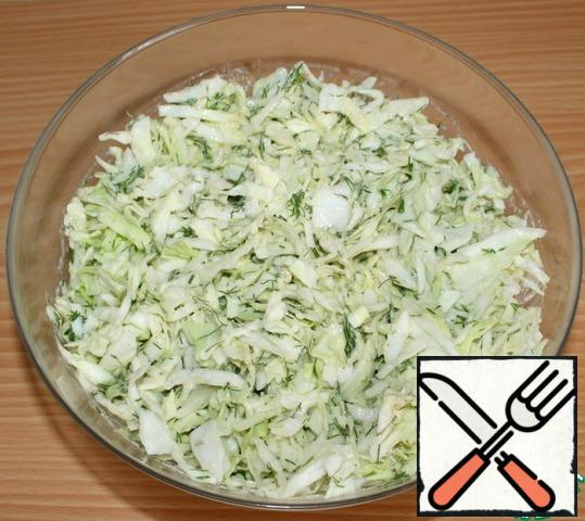 Mix well, but no need to knead the cabbage.