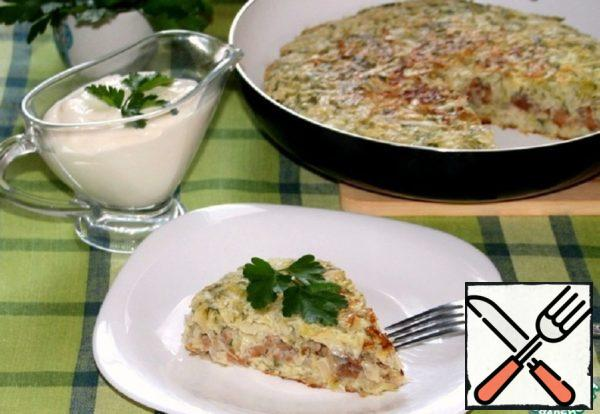 Cabbage Pie with Meat and Mushrooms in a Pan Recipe