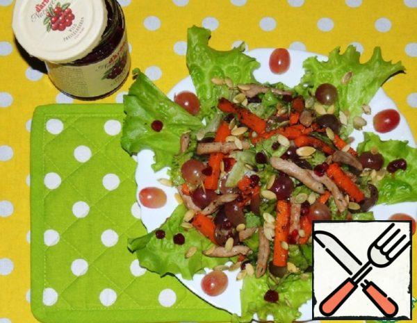 Warm Meat Salad with baked Pumpkin and Cowberry Sauce Recipe