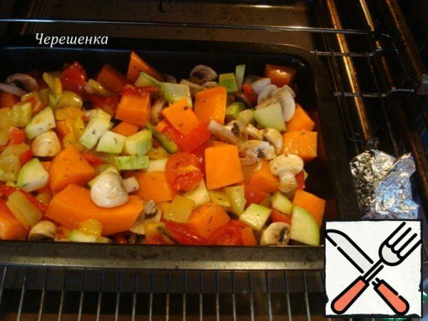 Bake vegetables, mushrooms and garlic in a preheated 200 degree oven for 20 minutes…