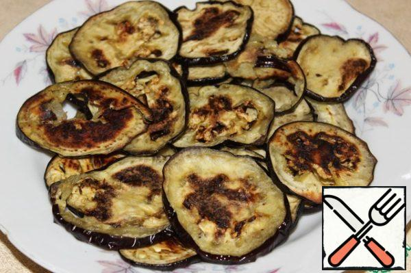 Coat eggplant with olive oil, spread on a baking sheet and bake at 200*C for 20 minutes.