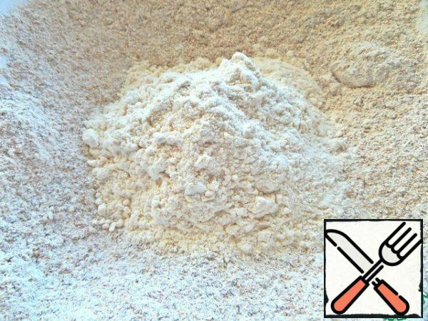Mix both types of flour. The ratio can be changed in any direction.