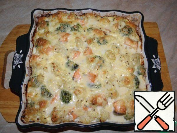 Bake in a preheated 200% oven, 20-30 minutes, the top should be browned, but do not dry the fish).
