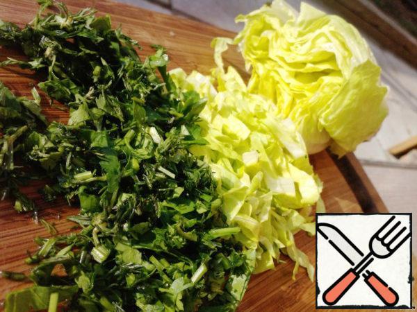 Salad and greens chop down.