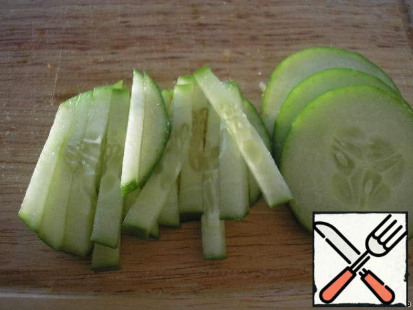 Cucumber cut into cubes.