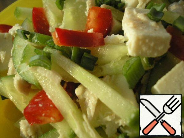 Vegetable Salad with Chicken and Cheese Recipe