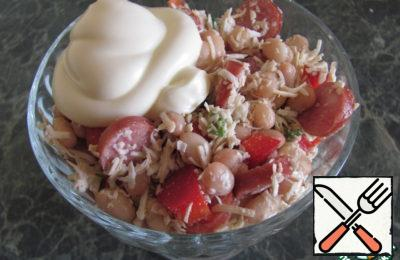 Salad with Beans, Cheese and Garlic Recipe