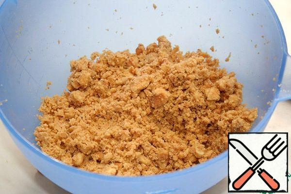 In cookies, add finely chopped and strongly chilled butter and mix thoroughly.