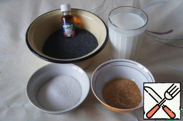 Let's start with the preparation of fillings. Prepare products for poppy seed filling.