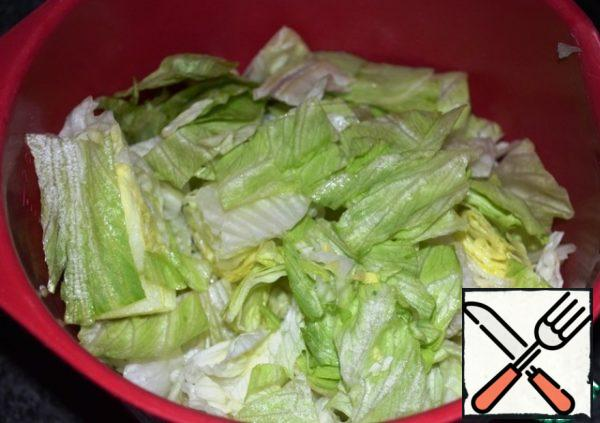 Salad cut or tear by hand. Not too shallow.
