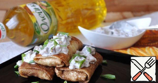 Pancakes with Potato Mash and Herring Sauce Recipe