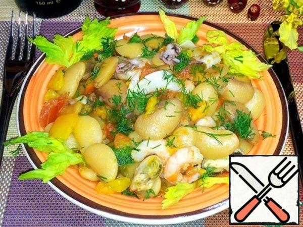 White Beans with Vegetables and Seafood Recipe