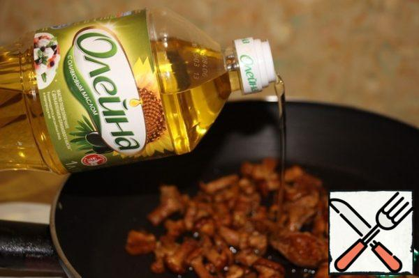 Defrost the mushrooms and fry in oil until tender. You can add a little salt.