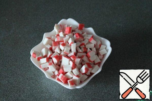 Small cube cut crab sticks.