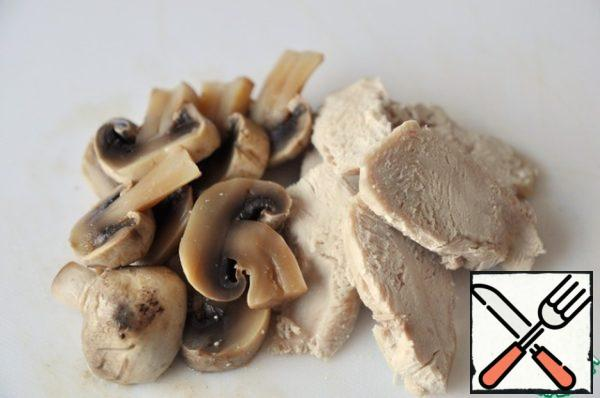 I recommend that You chicken and mushrooms boiled (cooked together) and cut into plates.