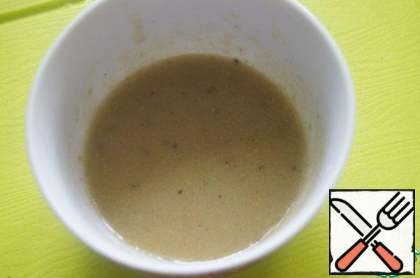 For sauce: Mix oil, lemon juice, mustard, salt, season with black pepper and coriander. Beat well with a whisk.