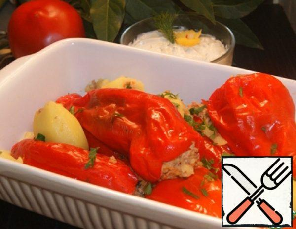 Stuffed Pepper with Cheese and Garlic Cream Recipe