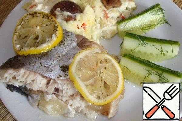 Fish in Salted Dough with Mashed Potatoes in American style Recipe