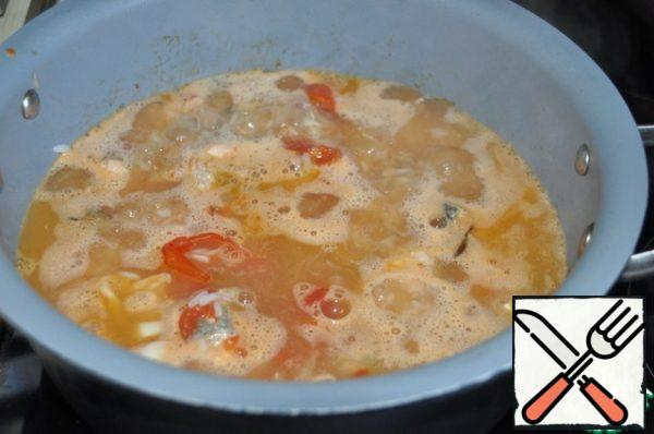 Serve soup immediately, hot.