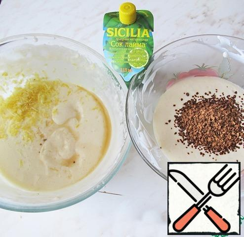 Divide the resulting mass into 2 parts in different dishes. In one part add coffee and lemon juice, in another zest and lime juice.