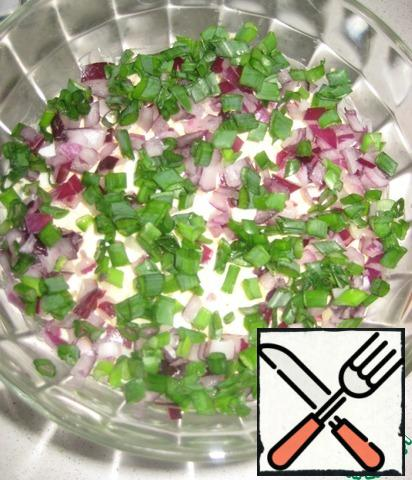 3. Chopped onions-red and green, a little salt.