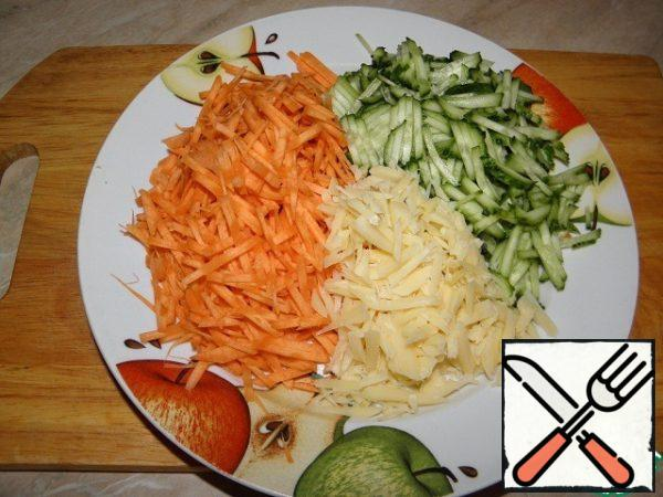 Carrots, cucumber cheese grate (preferably Korean) if not, then the usual large).