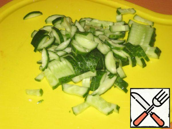 Cucumbers cut into strips.