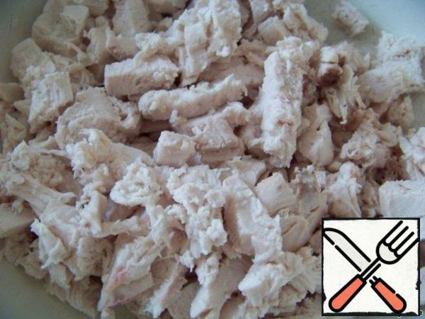 Chicken fillet cut into cubes.