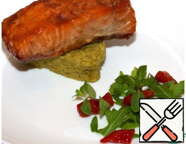Glazed Salmon with Mint Pea Puree Recipe