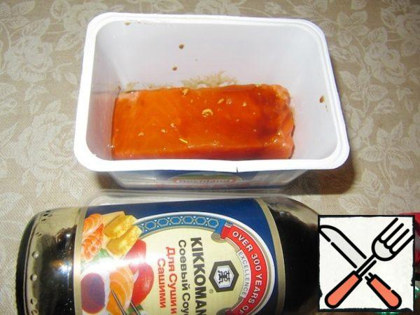 Marinate the fillets in half of this mixture for at least an hour.