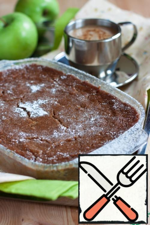 And after cooling, the pudding is perfectly cut and keeps its shape. Incredibly tasty, gentle, not cloying, caramel-Apple!