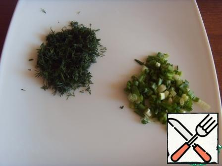 Dill and green onion cut into chopped.