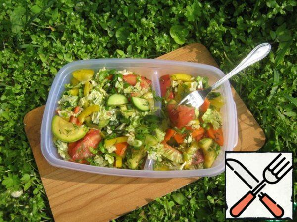 Ready salad take with you on a picnic.