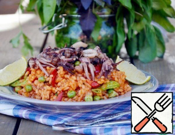 Paella with Seafood and Green Peas Recipe