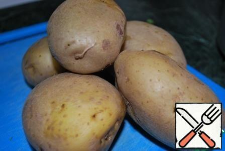 boil 5 potatoes in their skins.