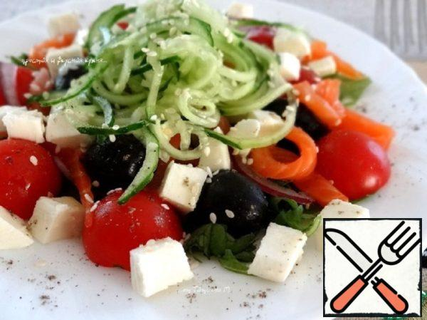 Salad with Mozzarella, Vegetables and Trout Recipe