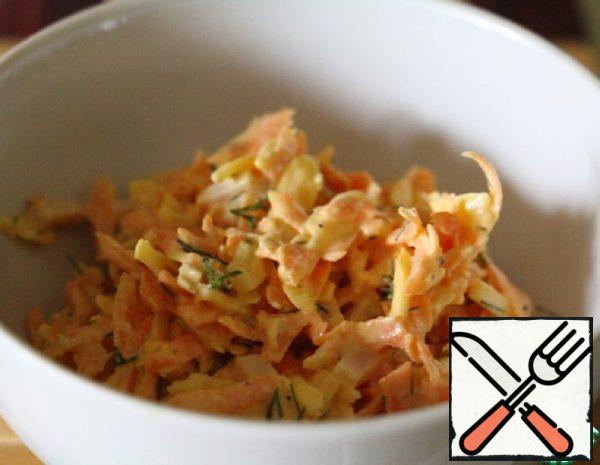 Light Carrot Salad with Cheese and Garlic Recipe