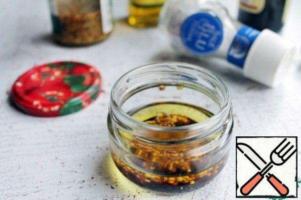 For dressing mix olive oil, vinegar and mustard, some salt and ground pepper, to taste.