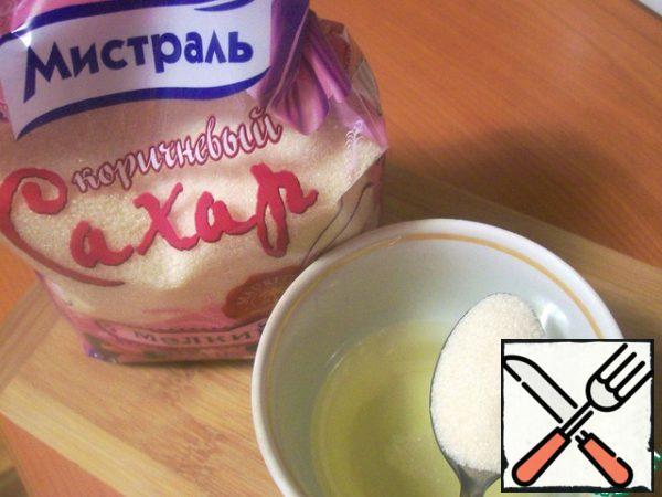 Prepare the dressing. Mix butter, salt, brown sugar and hot sauce.