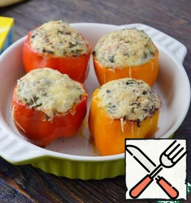 Bake peppers in a preheated 200 degree oven for 25-30 minutes. If you do not like rosy cheese, you can cover the peppers with foil or baking paper in 15 minutes.