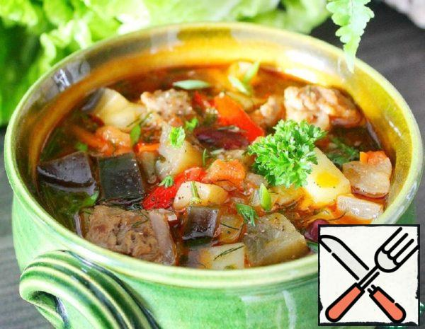 Soup with Eggplant and canned Beans Recipe